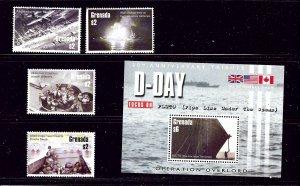 Grenada 3447-50 and 3453 MNH 2004 D-Day Anniv