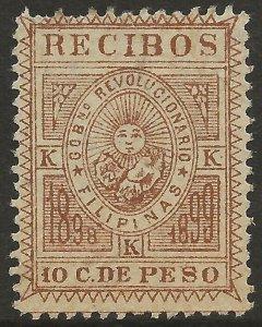 Philippines 1898 Revenue Recibos Receipts 10c Yel Brown Fine Unused (No gum)