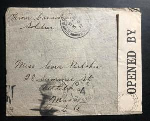 1917 Fieldpost Canada On Active Service Censored  WW1 Cover to Attleboro Ma USA