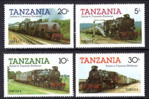 Tanzania MNH 271-4 Steam Locomotives 1985