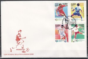 Cuba, Scott cat. 4596 a-d. World Cup Soccer issue. First day cover. ^