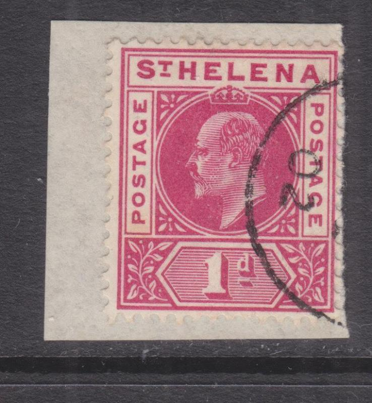 St. HELENA, 1902 KEVII 1d. Carmine, used on small piece.