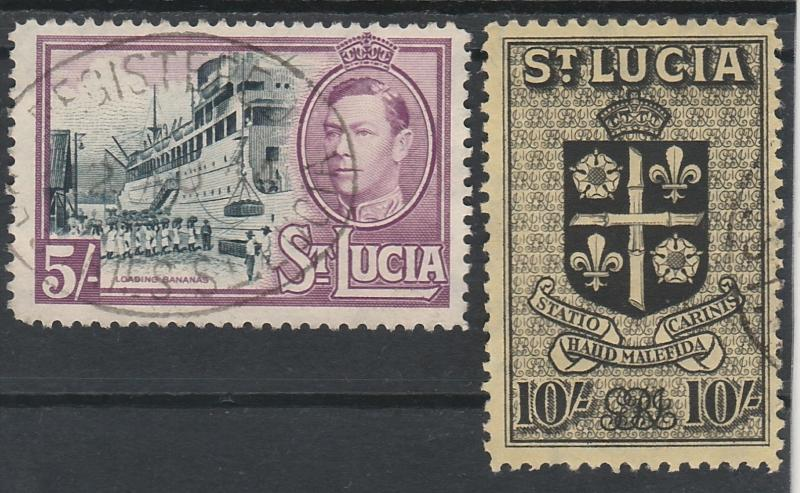 ST LUCIA 1938 KGVI PICTORIAL ARMS 5/- AND 10/- USED