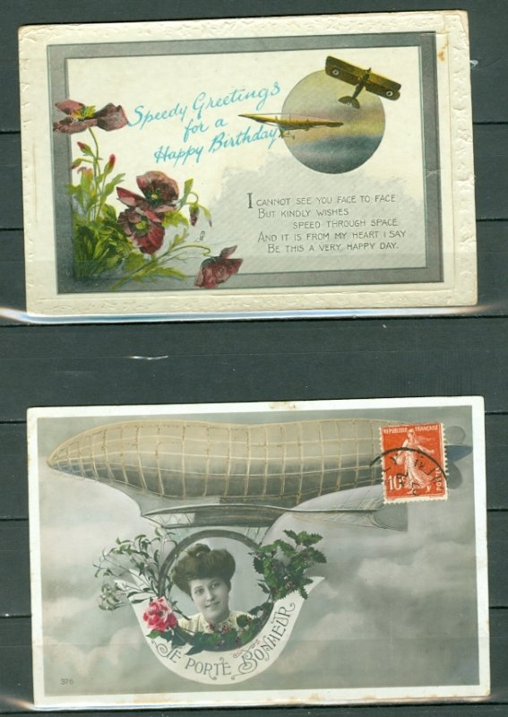 AIRCRAFTS (2) AIR RELATED HUMORISTIC POSTAL CARDS...NICE ITEMS