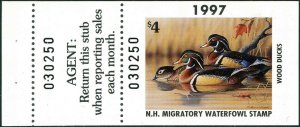 NEW HAMPSHIRE #15A 1997 STATE DUCK HUNTER STAMP WOOD DUCKS by Richard Clifton