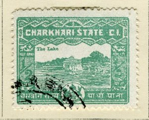INDIA; CHARKHARI STATE 1931 early pictorial issue fine used 1/2a. value