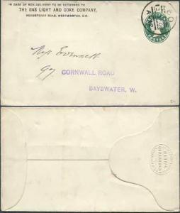 ES28 QV 1/2d Blue Green Envelope Stamp 1b Used The Gas Light and Coke Company