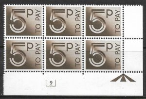 D94 5p 1982 Decimal Postage Due Cyl 9 UNMOUNTED MINT