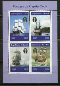 CHAD 2019 VOYAGES OF CAPTAIN COOK  SHEET OF FOUR MINT NEVER HINGED