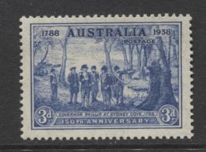 Australia - Scott 164-  Sydney Cove -1937- MNH - Single 3d stamp