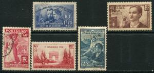 France Lot 6612 RF Postes 1938 YVERT 401-2 403 OGHR 417 418 OGHGR semi-postal