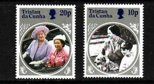 Tristan Da Cunha-Sc#372-5-unused NH 10p,20p Queen Mother-wmk inverted-1985-