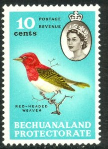 BECHUANALAND PROTECTORATE 1961 10c Red Headed Weaver Bird Issue Sc 186 MNH