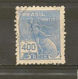 BRASIL STAMP BRASIL VFU 400 REIS  # BA1