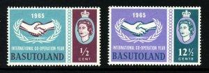 BASUTOLAND QE II 1965 International Co-Operation Year Set SG 100 & SG 101 MINT