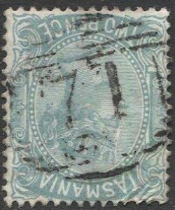 TASMANIA Australia 1878 Sc 61, Used F, 2d QV #71 Cancel, Blue-Green unlisted