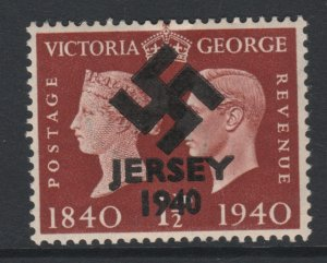 Jersey 1940 Swastika opt on Great Britain KG6 Centenary 1.5d brown