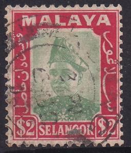 SELANGOR 1941 SULTAN $2 USED