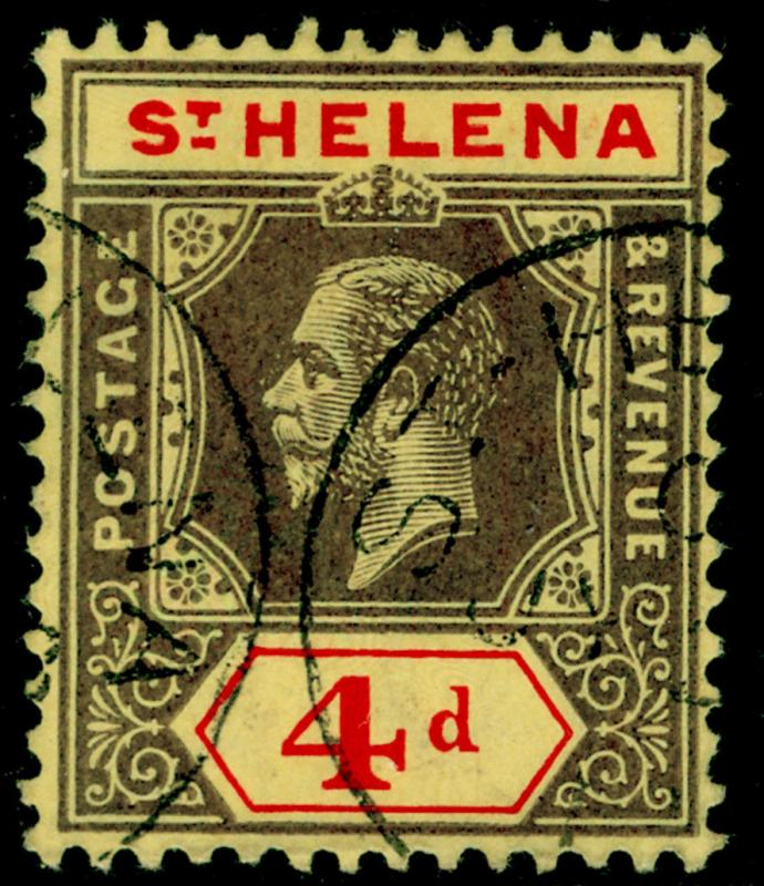 ST. HELENA SG83, 4d black & red/yellow, VERY FINE USED, CDS. Cat £26.