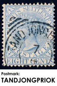 Malaya Straits Settlements 1894 Nederlands Indies TANDJONG PRIOK pmk QV 8c SG101