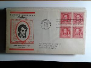 SCOTT # 860 BLOCK OF 4 FAMOUS AMERICANS  FIRST DAY OF ISSUE 1940