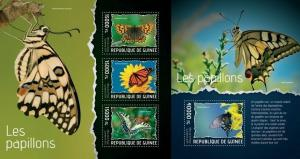 Guinea 2014 butterflies insects nice klb+s/s MNH