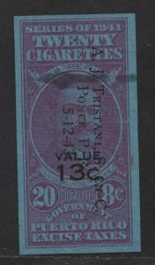 $US/Puerto Rico 1943 Cigarette Revenue 20 @ 8c, 13c o/p
