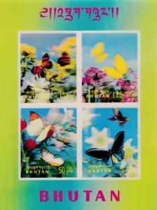 Bhutan 1968 BUTTERFLIES in 3-D Process Complete Sheet  VF