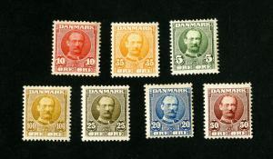 Denmark Stamps # 72-78 VF OG Hinged Catalogue Value $201.00