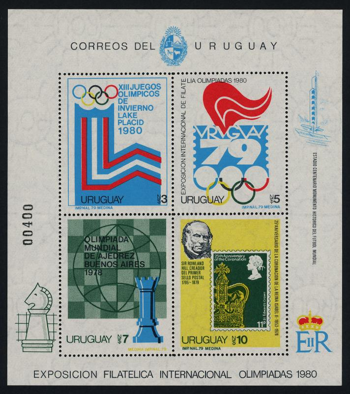 Uruguay 1022 MNH Stamp on Stamp, Winter Olympics, Chess, Rowland Hill