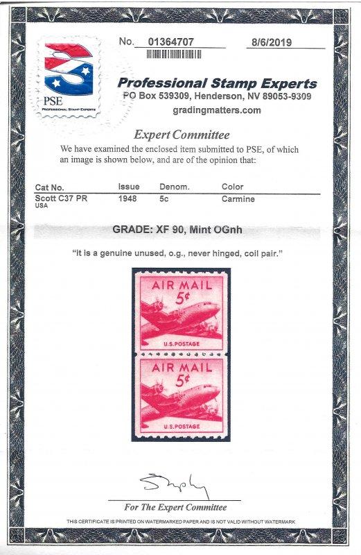 C37 Mint,OG,NH... Pair... PSE XF-90... SMQ $25.00