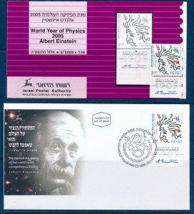 ISRAEL 2005 ALBERT EINSTEIN STAMP MNH + FDC + POSTAL SERVICE BULLETIN