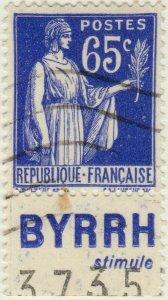 FRANCE - 1937 Pub BYRRH (stimule) inférieure sur Yv.365b 65c Paix - obl. TB