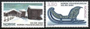 Norway 1063-1064, MNH. Norwegian Folk Museum; Log Buildings, Sled, 1994