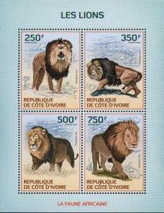 Lion Stamp Panthera Leo Wild Animal African Fauna S/S MNH #1599-1602