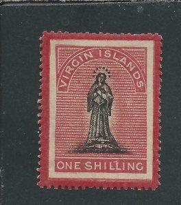 BRITISH VIRGIN IS 1867 1s BLACK & ROSE-CARMINE ON TONED PAPER MM SG 19 CAT £85
