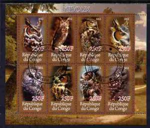 Congo 2012 Owls perf sheetlet containing 8 values fine ct...