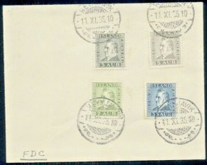 ICELAND, 1935 Complete set #195-8 on unaddressed FDC, scarcer and VF, Facit $350