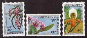 LAOS Scott 230-232, MH* Orchid set 1972