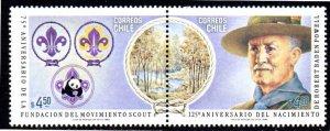 CHILE 623 MNH PAIR SCV $42.50 BIN $25.50 SCOUTS
