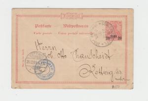GERMAN OFFICES IN TURKEY 1901 20pa CARD TO KETTWIG  (SEE BELOW)