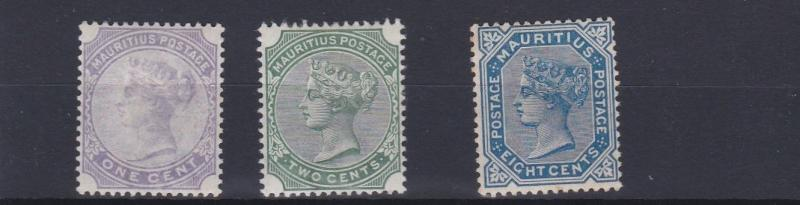 MAURITIUS  1883 - 94    S G 101 + 103 + 106    VALUES TO 8C         MH