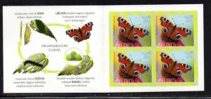 Estonia Sc 759a 2014 Moths stamp booklet pane mint NH