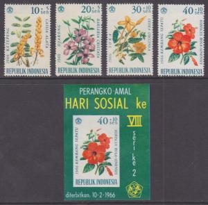 Indonesia Sc B195-B198a mint 1966 Flowers in their Natual Colors + Souv Sheet