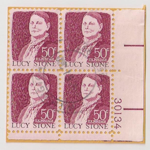 #1293 50c Lucy Stone used plate block of four 30134 LR