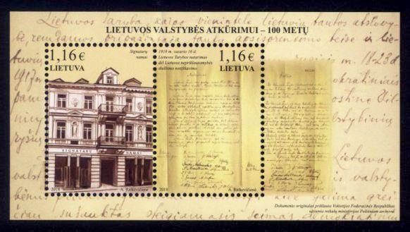 Lithuania Sc# 1123 MNH 100th Anniversary of Restoration of Lithuania (S/S)
