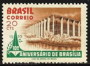 Brazil 1970 Scott# 1157 MNH Issued without gum