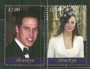 Penrhyn MNH 476-7 Prince William & Catherine Royal Engagement  SCV 6.50