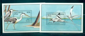 Maldive Is. - Sc# 1429-30. 1990 Birds MNH Souv. Sheets. $9.00.