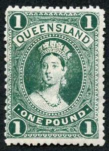 Queensland SG312 One Pound Bluish Green M/Mint (hinge remainders)